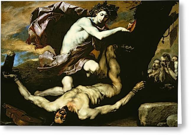 Agony Greeting Cards - Apollo and Marsyas Greeting Card by Jusepe de Ribera