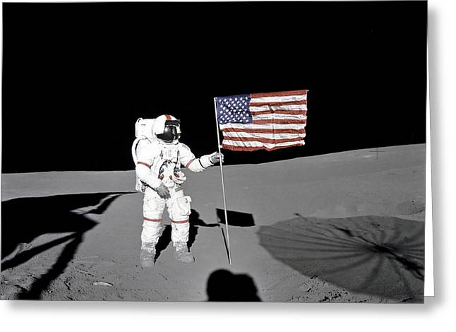 Apollo Astronaut Stands Greeting Card by Stocktrek Images