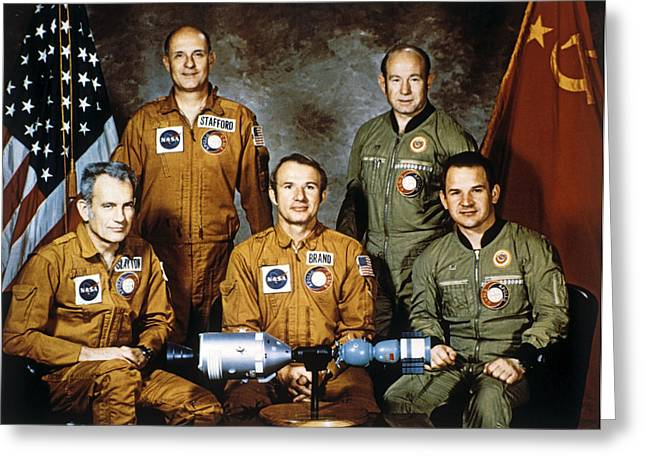 Valery Greeting Cards - Apollo-soyuz Project Crew, 1975 Greeting Card by Ria Novosti