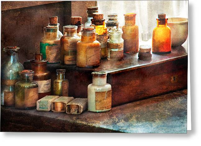 Apothecary - Chemical Ingredients  Greeting Card by Mike Savad