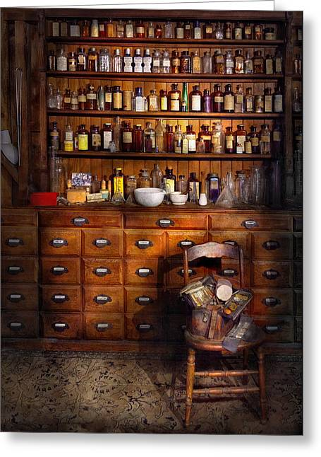 Customizable Greeting Cards - Apothecary - Just the usual selection Greeting Card by Mike Savad