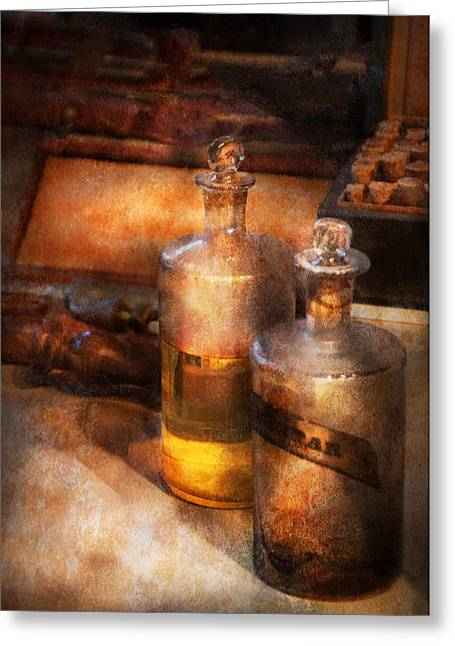 Customizable Greeting Cards - Apothecary - Special Medicine  Greeting Card by Mike Savad