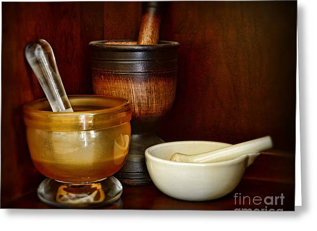 Md Greeting Cards - Apothecary - Mortars and Pestles Greeting Card by Paul Ward