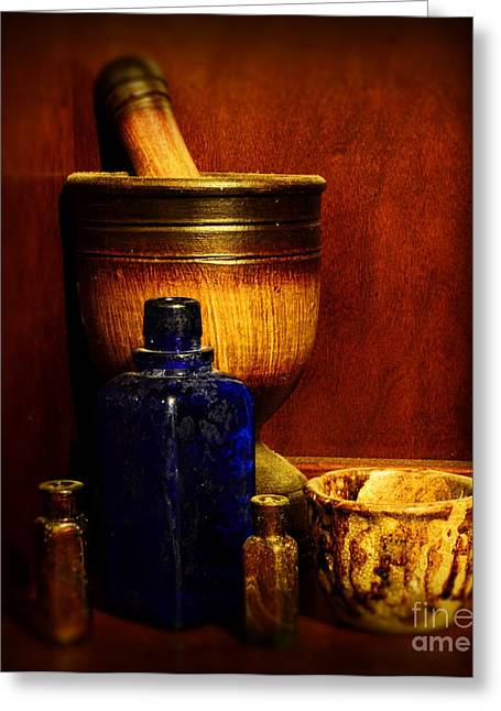 Old Grinders Photographs Greeting Cards - Apothecary - Wood mortar and pestle Greeting Card by Paul Ward