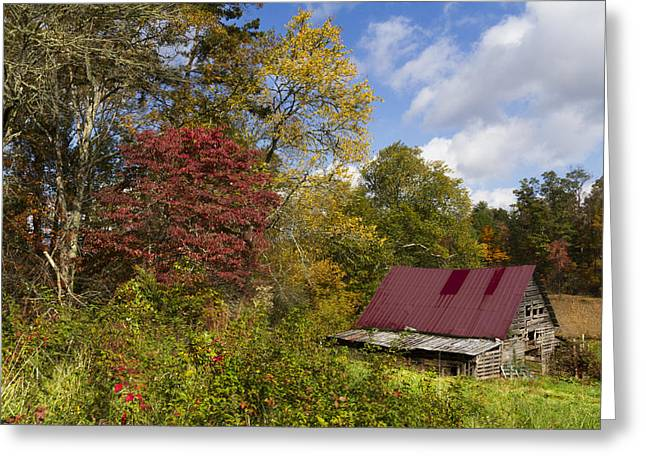 Red Roofed Barn Greeting Cards - Appalachian Autumn Greeting Card by Debra and Dave Vanderlaan