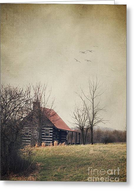 Log Cabins Greeting Cards - Appalachian Cabin Greeting Card by Stephanie Frey
