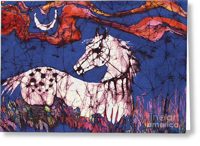 Equine Tapestries - Textiles Greeting Cards - Appaloosa in Flower Field Greeting Card by Carol Law Conklin