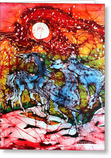 Magical Tapestries - Textiles Greeting Cards - Appaloosas on a Fiery Night Greeting Card by Carol Law Conklin