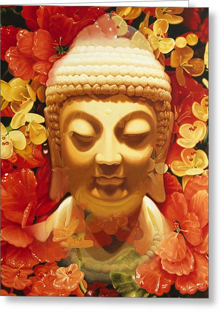 Photo-realism Greeting Cards - Appearing Buddha Greeting Card by Tony Chimento