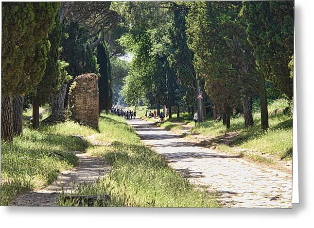 Roman Photographs Greeting Cards - Appian Way in Rome Greeting Card by David Smith
