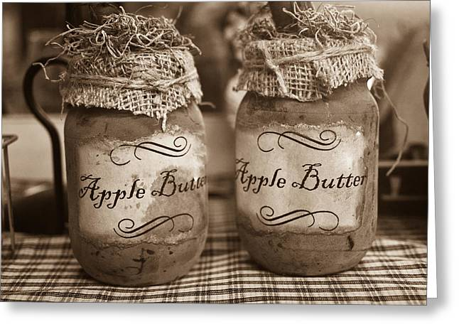 Table Cloth Greeting Cards - Apple Butter in Sepia Greeting Card by Douglas Barnett