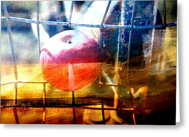 Apple In A Basket Greeting Card by Toni Hopper