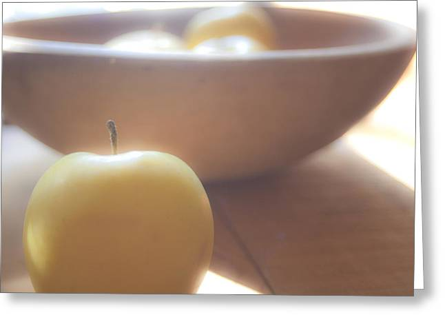 Yellow Apples Greeting Cards - Apple in waiting Greeting Card by Toni Hopper