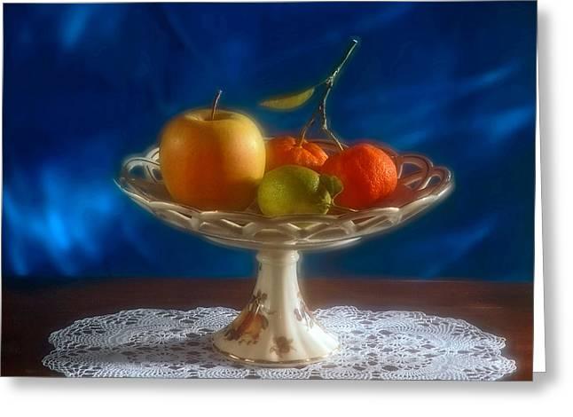 Crocheted Doily Greeting Cards - Apple lemon and mandarins. Valencia. Spain Greeting Card by Juan Carlos Ferro Duque
