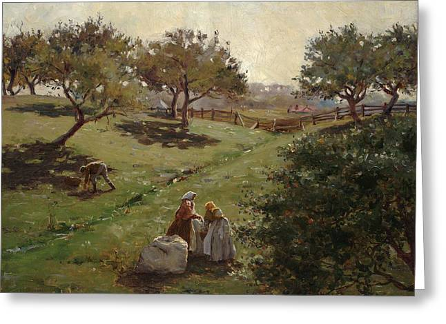 Apple Picking Greeting Cards - Apple Orchard Greeting Card by Luther  Emerson van Gorder