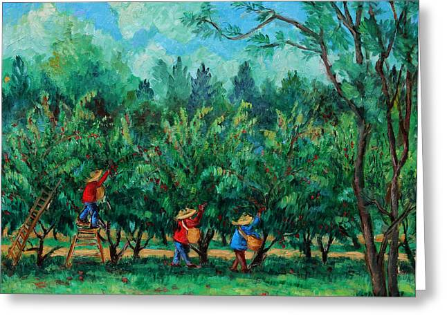 Best Sellers -  - Ithaca Greeting Cards - Apple Pickers  LittleTree Orchard  Ithaca NY Greeting Card by Ethel Vrana