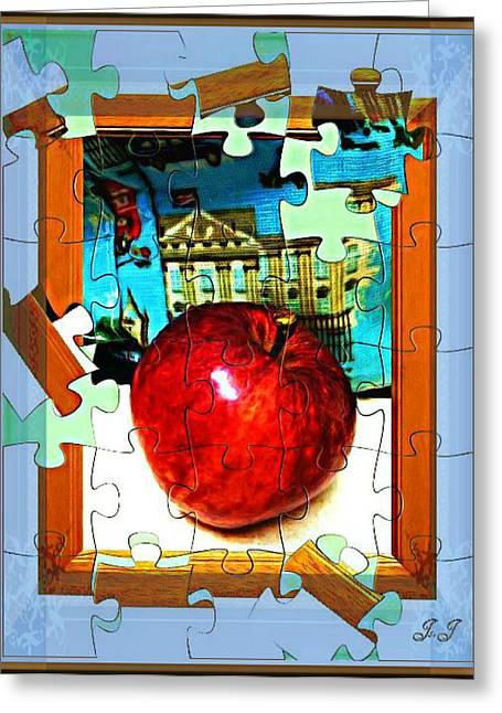 Jan Steadman-jackson Greeting Cards - Apple Puzzle Greeting Card by Jan Steadman-Jackson