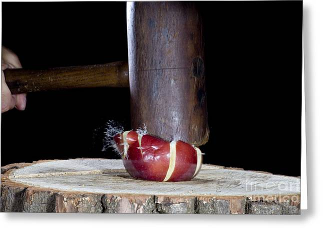 Action Reaction Greeting Cards - Apple Smashed With Mallet Greeting Card by Ted Kinsman