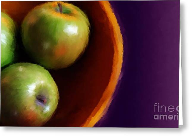 Wooden Bowls Paintings Greeting Cards - Apple Tableaux Greeting Card by Heather Kallhoff