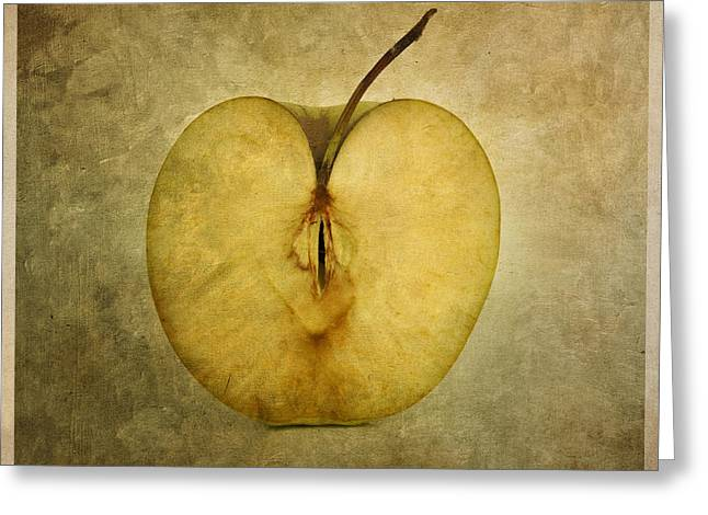 Textured Background Greeting Cards - Apple textured Greeting Card by Bernard Jaubert