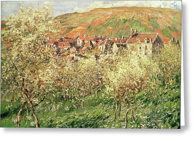 Blossom Tree Greeting Cards - Apple Trees in Blossom Greeting Card by Claude Monet