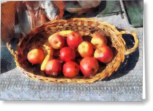 Harvests Greeting Cards - Apples and Bananas in Basket Greeting Card by Susan Savad