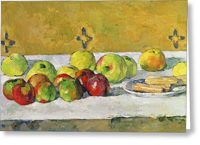 Granny Greeting Cards - Apples and Biscuits Greeting Card by Paul Cezanne