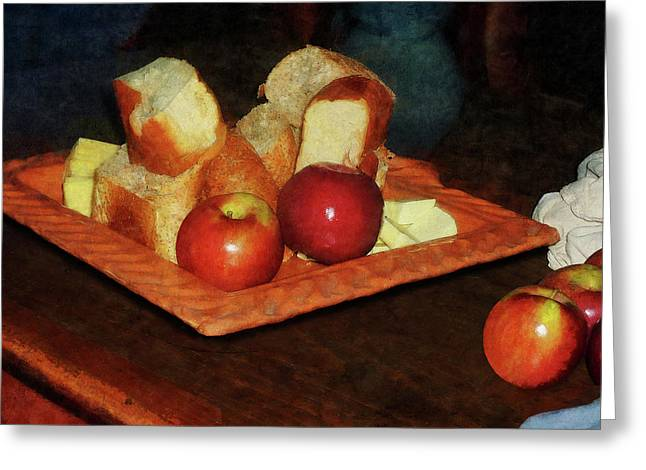 Kitchen Greeting Cards - Apples and Bread Greeting Card by Susan Savad