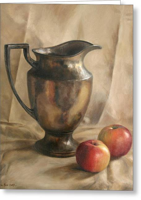 Pitchers Greeting Cards - Apples and Pitcher Greeting Card by Anna Bain