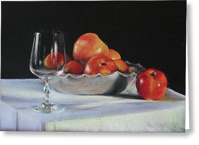 Award Pastels Greeting Cards - Apples and Wineglass Greeting Card by Diane Breuer