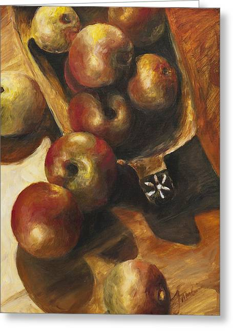 Wooden Bowls Paintings Greeting Cards - Apples Greeting Card by Francine Stuart
