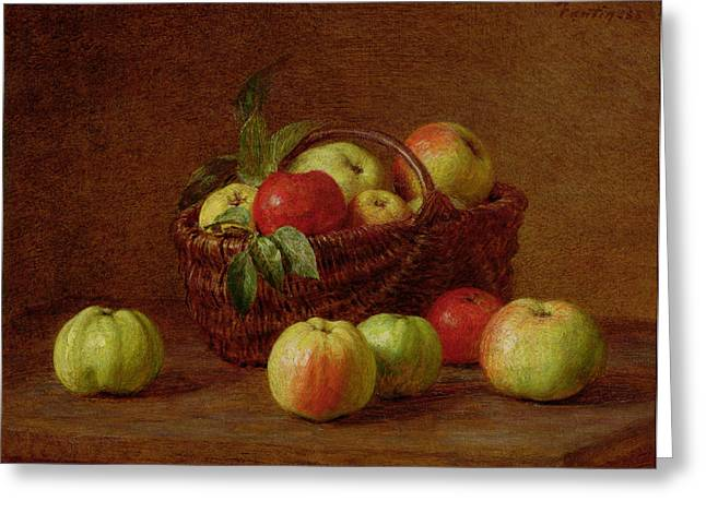 Growth Paintings Greeting Cards - Apples in a Basket and on a Table Greeting Card by Ignace Henri Jean Fantin-Latour
