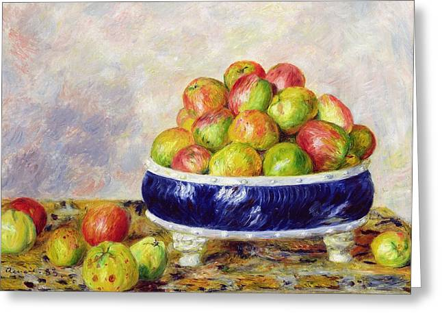 Filled Greeting Cards - Apples in a Dish Greeting Card by  Pierre Auguste Renoir