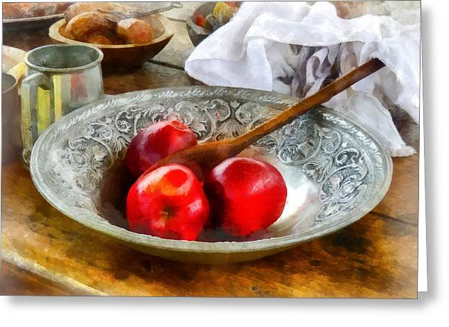 Apple Greeting Cards - Apples in a Silver Bowl Greeting Card by Susan Savad