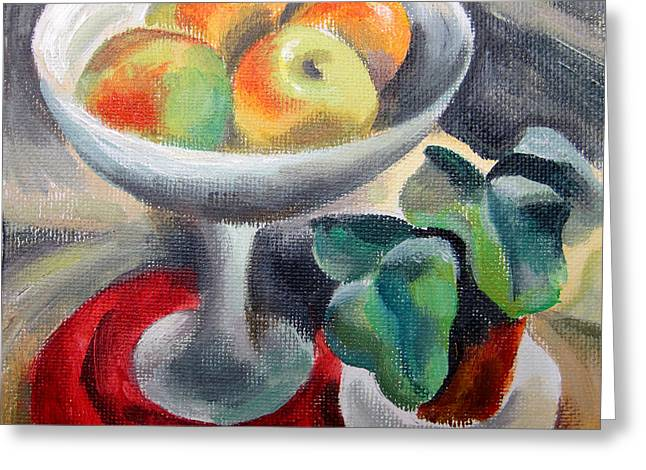 Textured Floral Greeting Cards - Apples in a vase Greeting Card by Leon Zernitsky