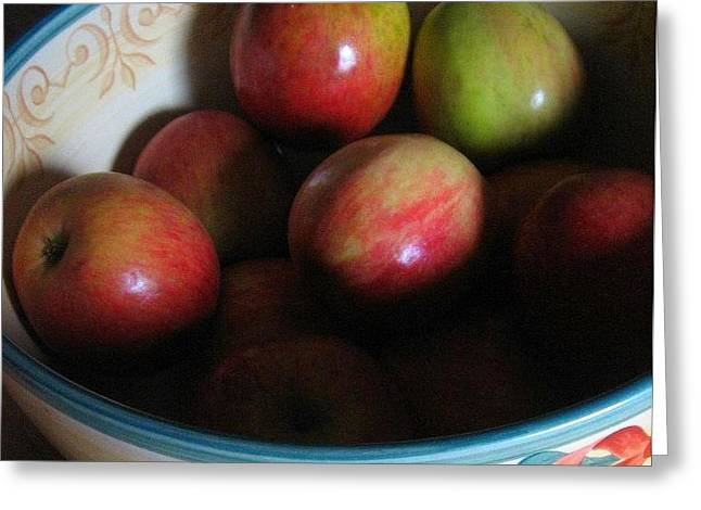 Shadows On Apples Greeting Cards - Apples in Ceramic Bowl Greeting Card by Deb Martin-Webster