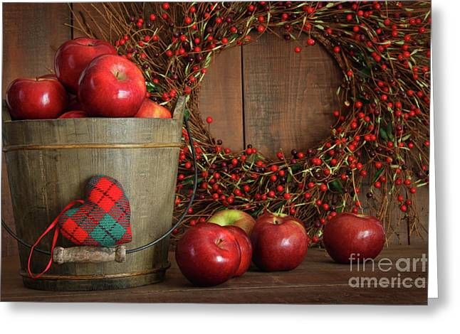 Cultivation Greeting Cards - Apples in wood bucket for holiday baking Greeting Card by Sandra Cunningham