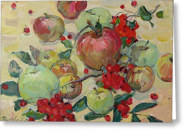 Still Life With Green Apples Greeting Cards - Apples Greeting Card by Juliya Zhukova