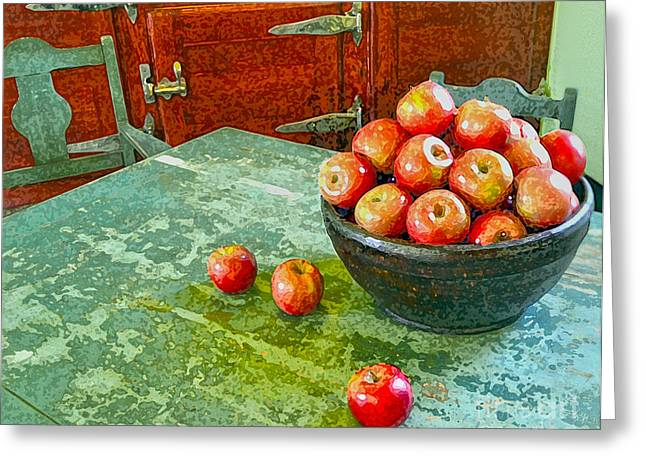 Photographs With Red. Greeting Cards - Apples  Greeting Card by Karen Francis