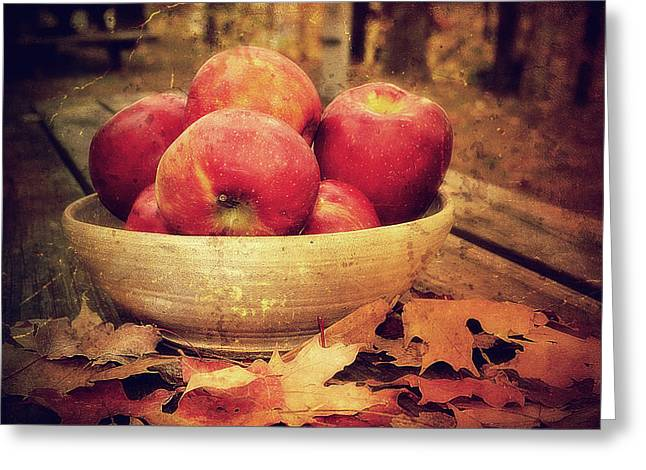 Fall Photographs Greeting Cards - Apples Greeting Card by Kathy Jennings