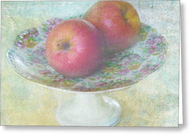 Flower Still Life Mixed Media Greeting Cards - Apples still life print Greeting Card by Svetlana Novikova