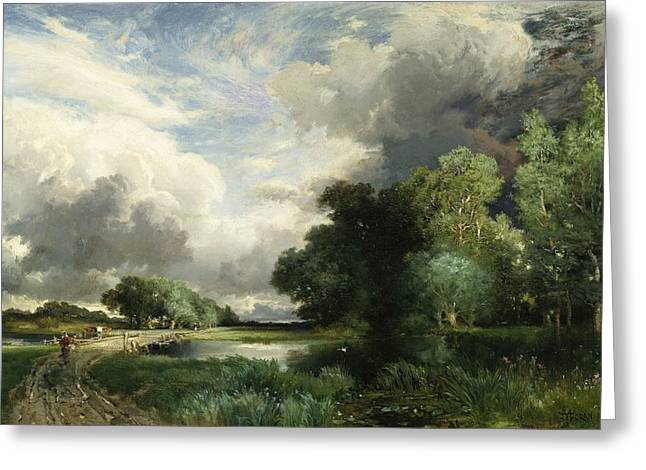 Moran Greeting Cards - Approaching Storm Clouds Greeting Card by Thomas Moran