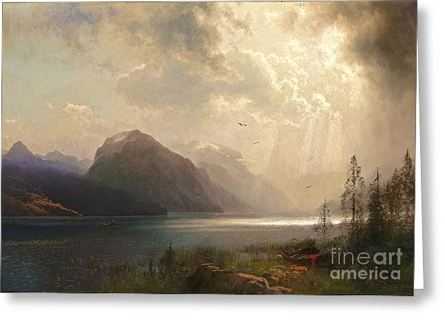 Storm. Rain. Oil On Canvas Greeting Cards - Approaching Storm Greeting Card by Pg Reproductions