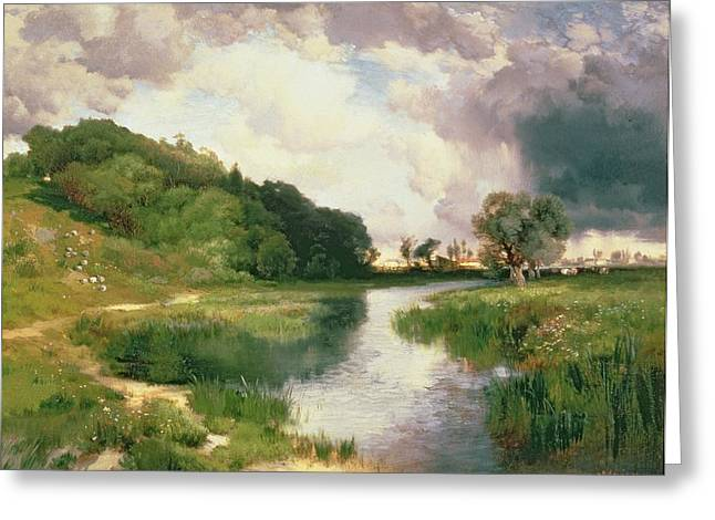 1884 (oil On Canvas) Greeting Cards - Approaching Storm Greeting Card by Thomas Moran