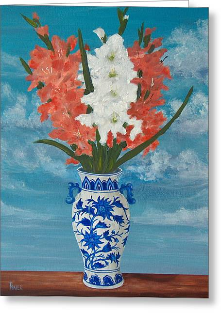Gladiolas Paintings Greeting Cards - Apricot Glads Greeting Card by Pete Maier