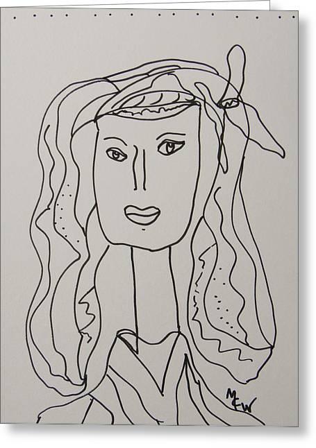 Self-portrait Greeting Cards - April Ann Greeting Card by Mary Carol Williams