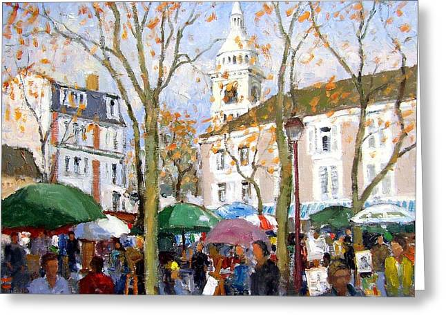 Impressionistic Market Greeting Cards - April in Paris Greeting Card by Roelof Rossouw