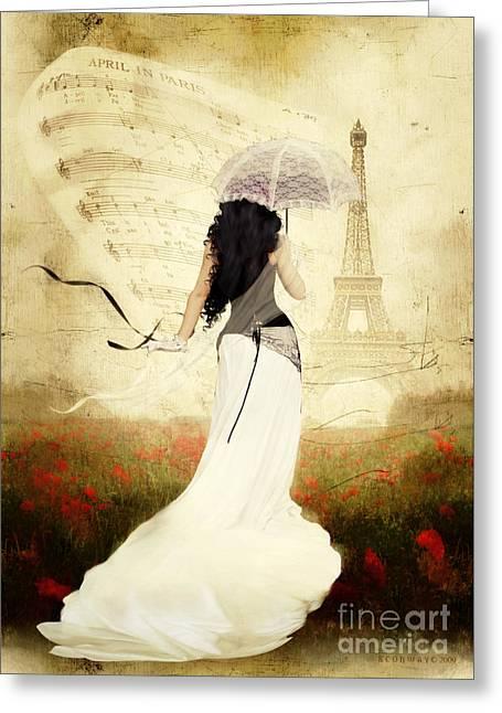 Sepia Greeting Cards - April in Paris Greeting Card by Shanina Conway