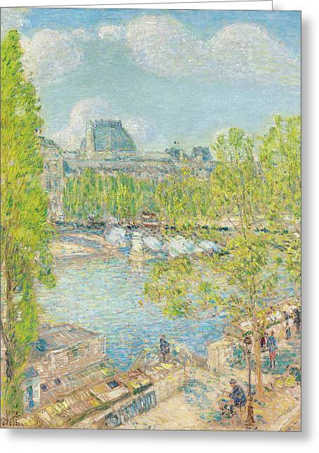 Childe Greeting Cards - April on the Quai Voltaire in Paris Greeting Card by Childe Hassam