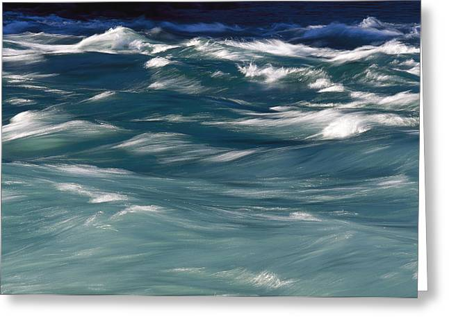 River View Greeting Cards - Aqua Blue Waves Greeting Card by Skip Brown